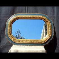 Espejo Antiguo Con Marco Francés Oval Ideal Baño Dorado Azul