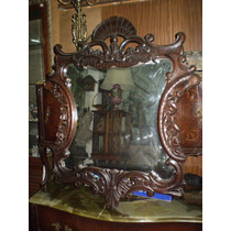 Antiguo Espejo Provenzal Europeo Tallado Biselado