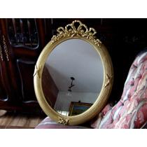 Espejo Frances Oval Antiguo Dorado