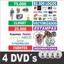 Pack 4 Dvds Vectores Y Fuentes Para Serigrafía, Diseño Y Más
