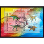 Costa Marfil Dinosaurios, Bloque 4 Sellos 2013 Usado L6996
