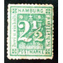Alemania Hamburgo, Sello Yv 12 2 1-2s Verde Azul Usado L6815