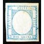 Italia Nápoles, Sello Sc. 22 2g Azul Error Punto Nuevo L6450