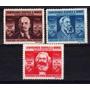 3 Estampillas Rumania Marx Engels Lenin Año 1945
