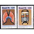Brasil Serie X 2 Sellos Mint Cultura Indígena = Totem 1976