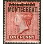 Montserrat Sello N° 1 Usado De Antigua Resellado Año 1876