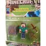 Minecraft Muñeco Steve 7cm + Bloque 4x4 + Espada Hacha Simil