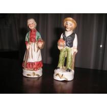 397- Par De Porcelana Biscuit Ancianos 12 Cm