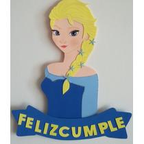 Cartel Cumpleaños - Elsa Frozen - Goma Eva 40 X 19 Cm