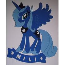 Cartel Cumpleaños - Pony Luna - Goma Eva 50 X 48 Cm Aprox.