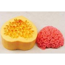 Molde Caucho. Silicona Flexible De Corazon Con Rosas