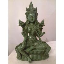 Figura Buda Tara Verde De Yeso Pintada A Mano Deco Zen 24cm
