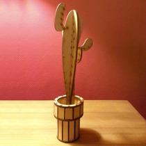 Original Cactus 21 Cm En Madera. Lo Adaptamos A Su Necesidad
