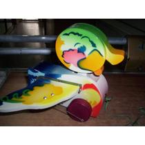 Juguetes Antiguos Pato De Madera Pintado