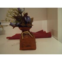 Florerito Ceramica Rustico Con Flores Artificiales