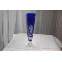 Antiguo Florero De Cristal Azul Tallado Retro Vintage 60