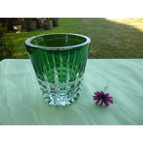 Florero Hielera De Cristal Verde Esmeralda Antiguo