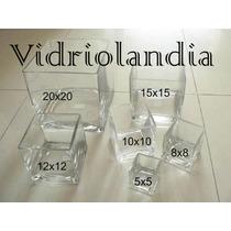 3 Fanales Cuadrados De Vidrio Floreros De Calidad Souveniers
