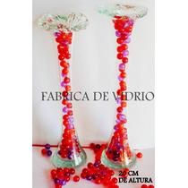 4 Floreros En Forma De Flor. De 20cm Aprox. De Vidrio