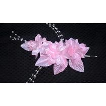 Flores Artificiales Raso C/ Perlas P/ Ramos Tocados Rosado