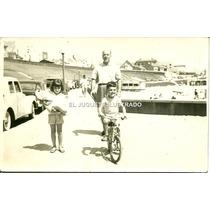 Foto Nardo Mar Del Plata 1960 Bicicleta Muñeca Antigua