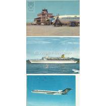 Pt2 Lote X3 Postales Transporte Dec 60 Avion Barco Circulada