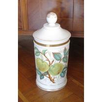 Antiguo Frasco De Porcelana Pintada- Farmacia-algodonera