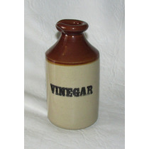 Antiguo Frasco Gres Bicolor Vinegar Sellado Pearsons England