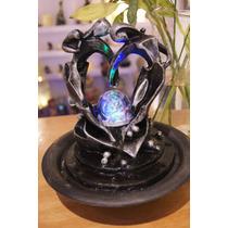 Fuente De Agua Feng Shui Enamorados Con Esfera Y Luz Color