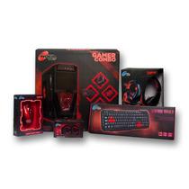 Gabinete Gamer Noganet Kit Ar2 C/ Fuente Cooler Led Completo
