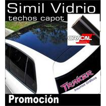 Vinilo Negro Simil Vidrio 126x1m. Techo Auto Traker Ploteos