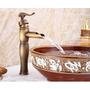 Monocomando Bacha Bronce - Acabado Antiguo Con Ceramica
