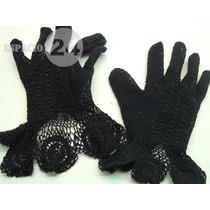 Guantes Para Dama De Hilo De Algodón T 6 Usados Color Negro.