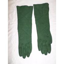 Bellos Guantes Antiguos De Gamuza Verde 6 1/2 Largo 32 Cm