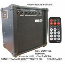 Amplificador De Guitarra 15w Usb-sd-c.remoto 220v C Bateria