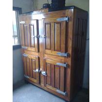 Heladera Antigua Exterior De Madera, 4 Puertas Comercial 10p
