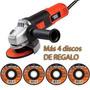 Amoladora Angular 115mm 820 W + 4 Discos Abrasivos