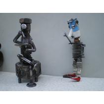 Escultura En Hierro Reciclado. El Psicólogo