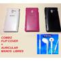 Combo Flip Cover Sony Xperia Zl L35h + Auricular De Regalo