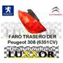 Faro / Optica Trasera Derecha Peugeot 308 Original (6351cv)