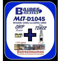 Recarga Samsung Mlt 104 Pote Toner 75gr + Chip Reinicio