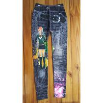 Leggings Calza Jeans Fondo Negro Estampada Talle Único