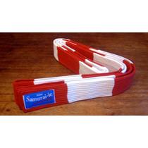 Cinturón De Judo - Karate Rojo-blanco Samurai-ie 10 Costuras