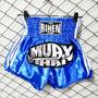 Short Rihen Muay Thai Azul Plateado - Boxeo Kick Boxing Ufc