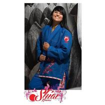 Kimono Femenino Jiu Jitsu Shiai Azul Bjj Tramado Bordado