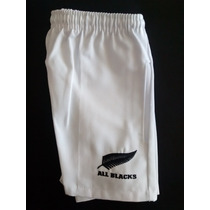 Short De Rugby Gabardina Blanco Con Logo All Blacks