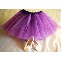 Tutu Y Zapatilla Media Punta Ballet Danza Rosa Lila Colores
