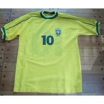 Remera Brasil Piqué Con Escudo Bordado Pegado T.m Num 10