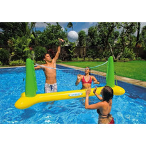 Set Voley Inflable Intex Con Red Y Pelota Para Pileta Oferta