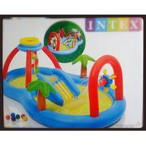 Pileta Inflable Infantil Con Tobogan Y Accesorios Intex